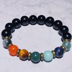 Obsidian 7 chakra Gemstone crystal bracelet